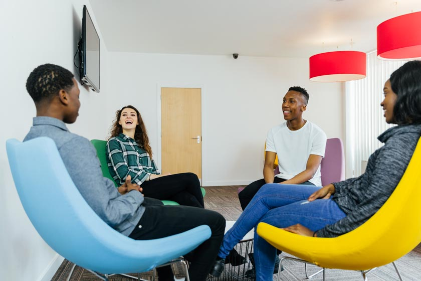 Students sat talking together