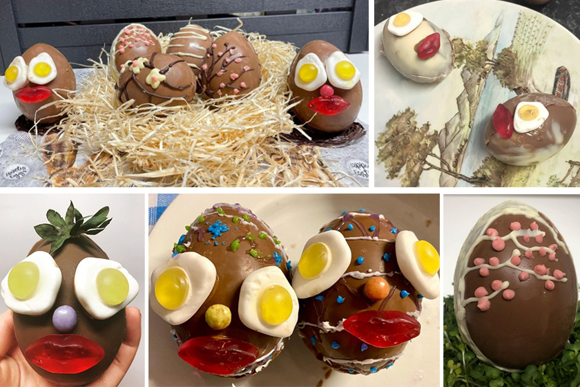 A collage of Easter Egg creations featuring chicks, chocolate and sweets