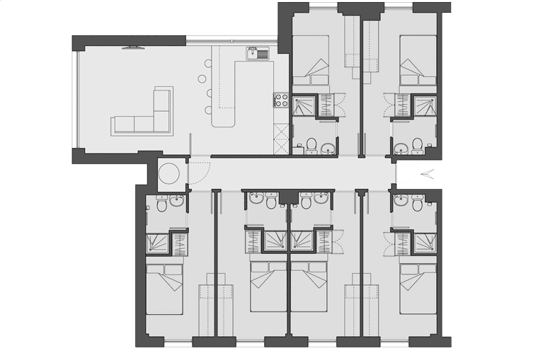 typical flat layout of Denmark Road, Manchester