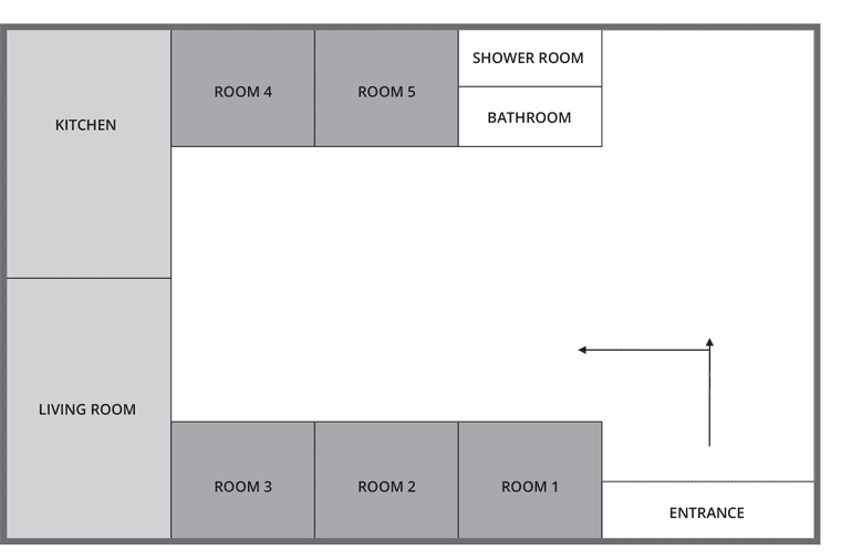 example flat layout of Kelvinhaugh Street, Glasgow