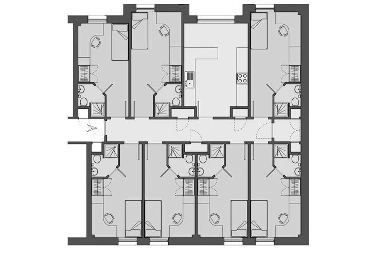 example floorplan at Lilian Knowles House, London
