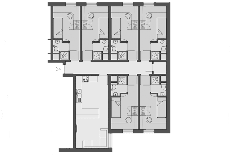 typical floorplan for Moor Lane Halls, Preston