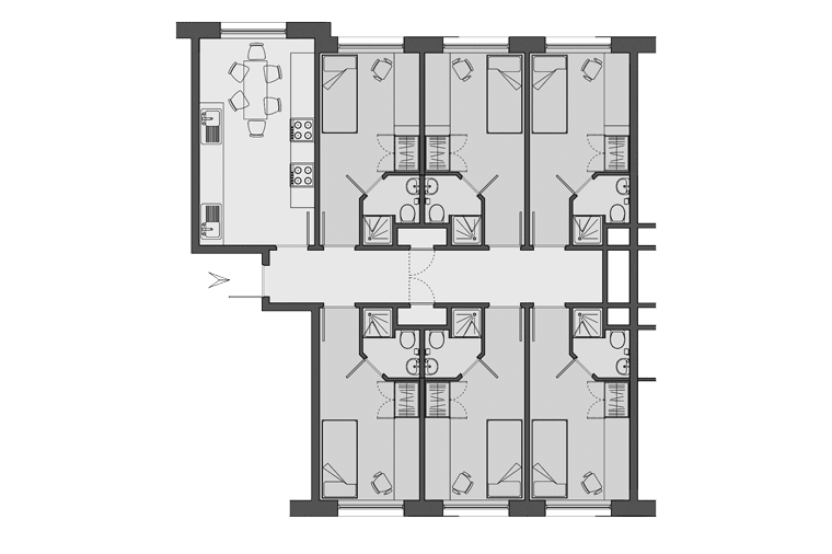 typical flat layout of Paul Robeson House, London