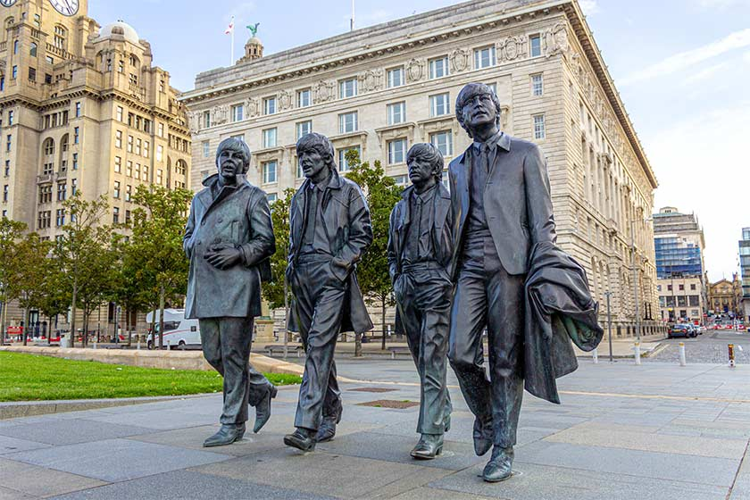 Statue of the four members of the Beatles in Liverpool