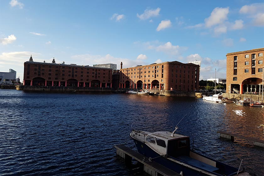 The waterfront in Liverpool with museums in the background