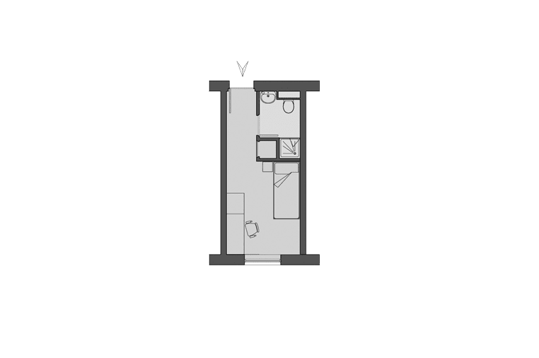 A typical room floorplan in Tramways, Salford