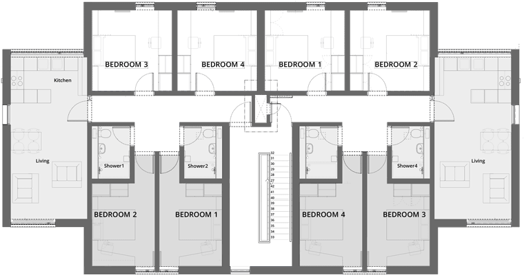 example floorplan for Treliske Key Worker accommodation, Truro