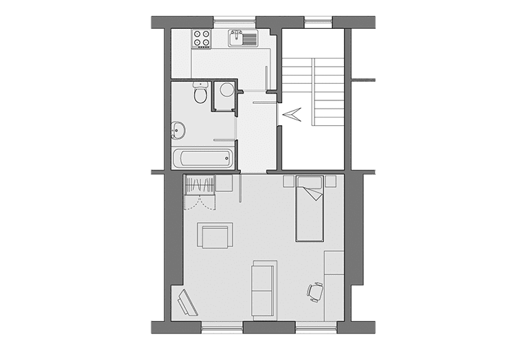 Floorplan of a typical studio flat at Upper Hope Place