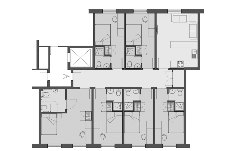 example floorplan of a double bed flat at Walker Street, Preston
