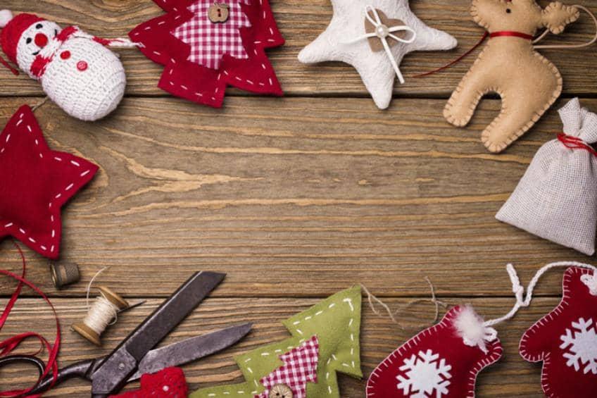 Handmade fabric Christmas decorations