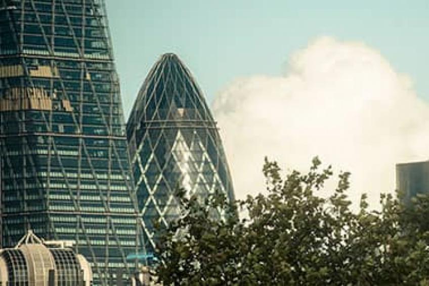 The gherkin building on the London skyline.