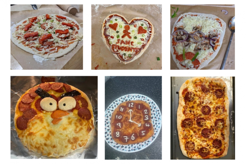 A selection of pizzas created by students who took part in The Big Night In campaign