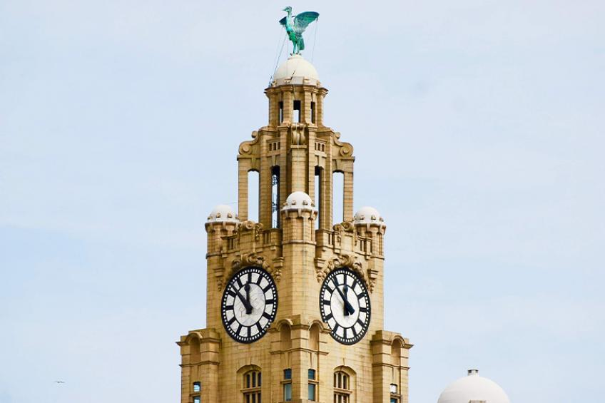Liver bird statue on top of the Royal Liver Building