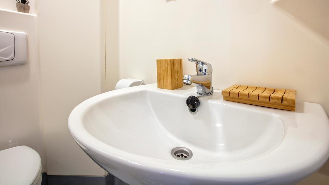 Close-up of a sink in an en-suite bathroom at our student accommodation in Dundee