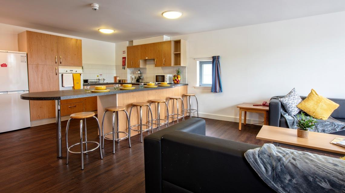 Example shared kitchen and lounge at our Belmont student accommodation in Dundee