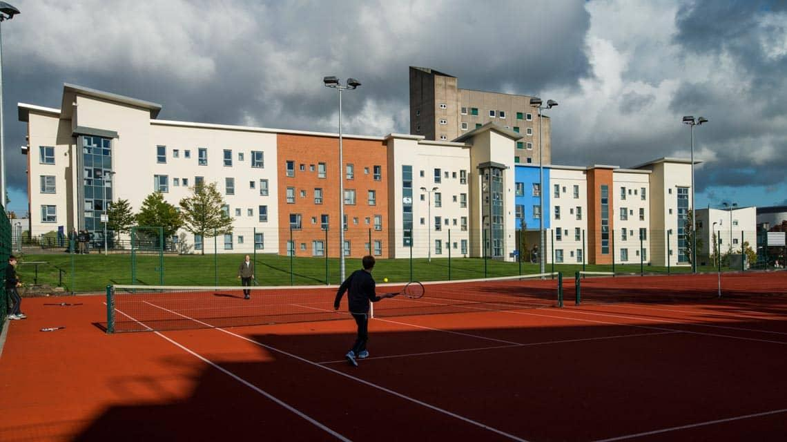external photo of Belmont and Heathfield Flats and its tennis courts
