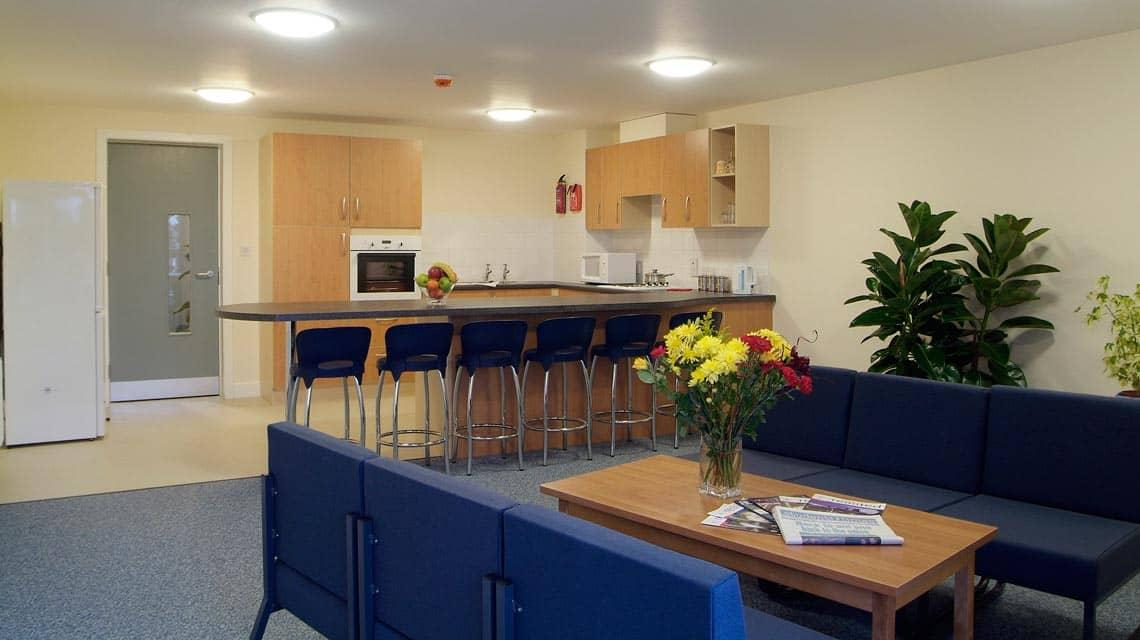 example shared kitchen and lounge at Belmont and Heathfield Flats