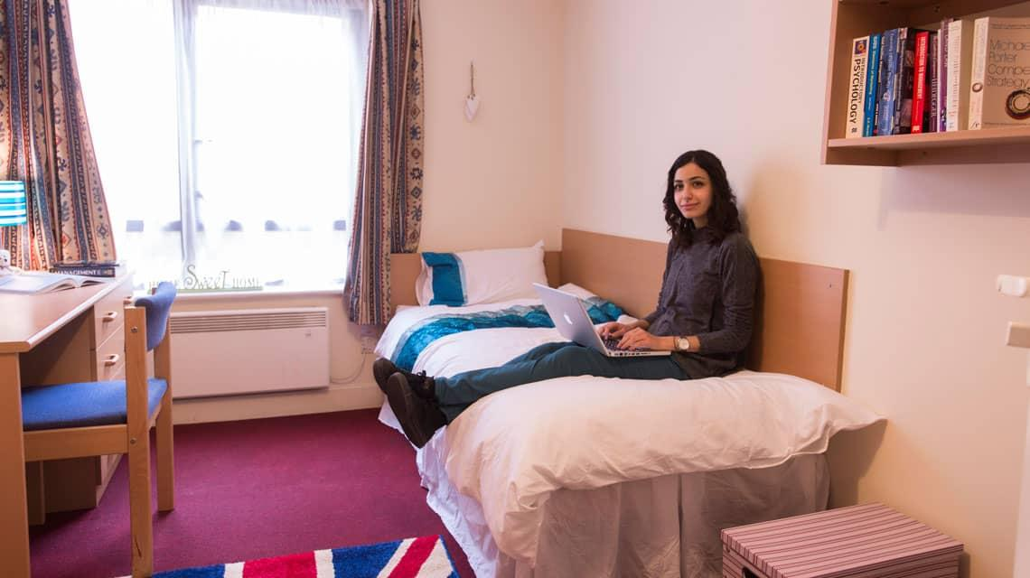 A student inside her Coopers Court bedroom