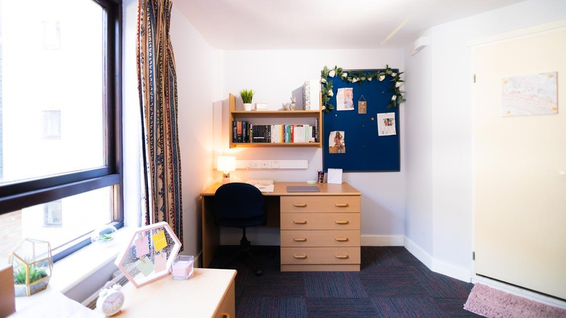 Example desk area in a bedroom at Coopers Court, London