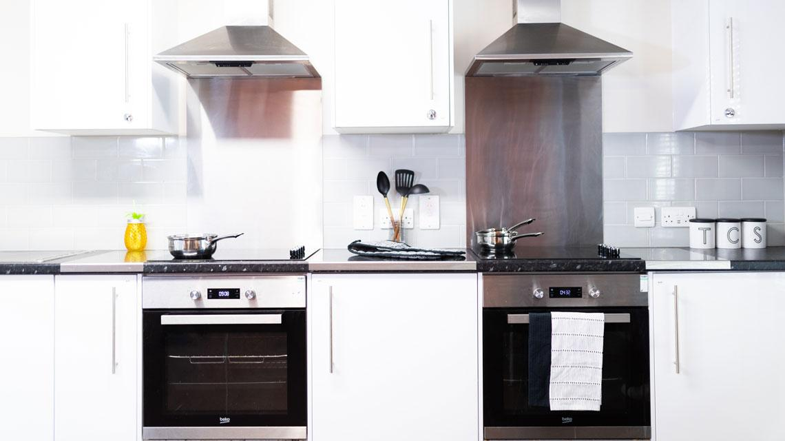 Example shared kitchen at Coopers Court, London
