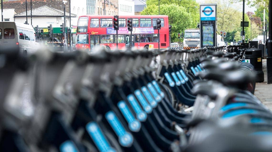 row of bikes to hire in London