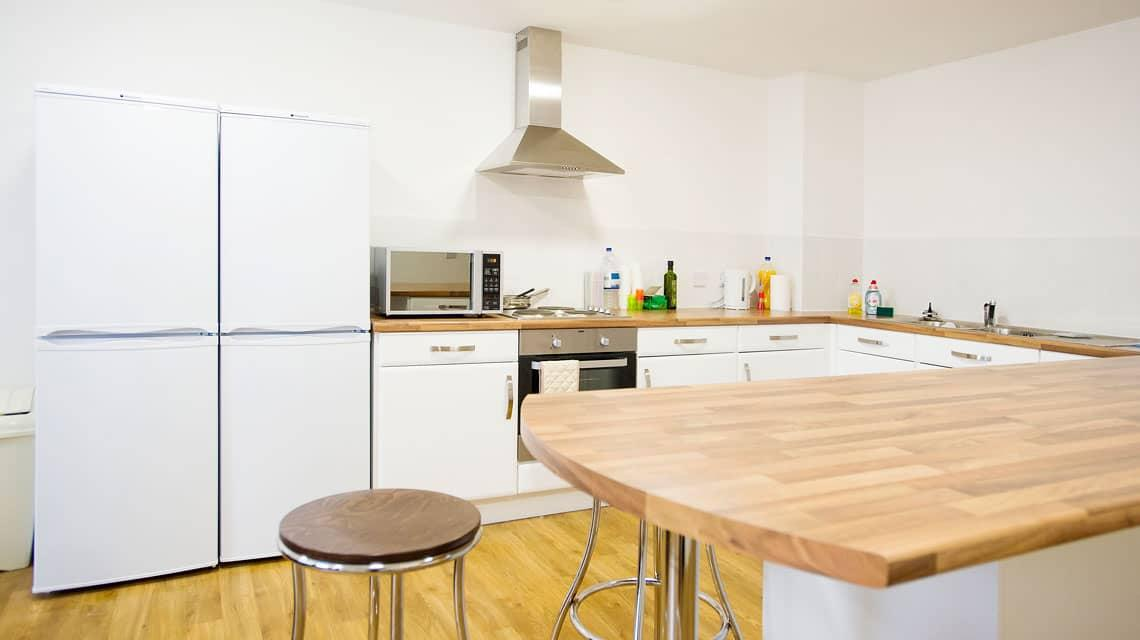 example of a shared kitchen at Denmark Road, Manchester
