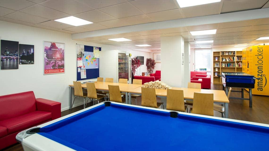 Dinwiddy House common room and pool table