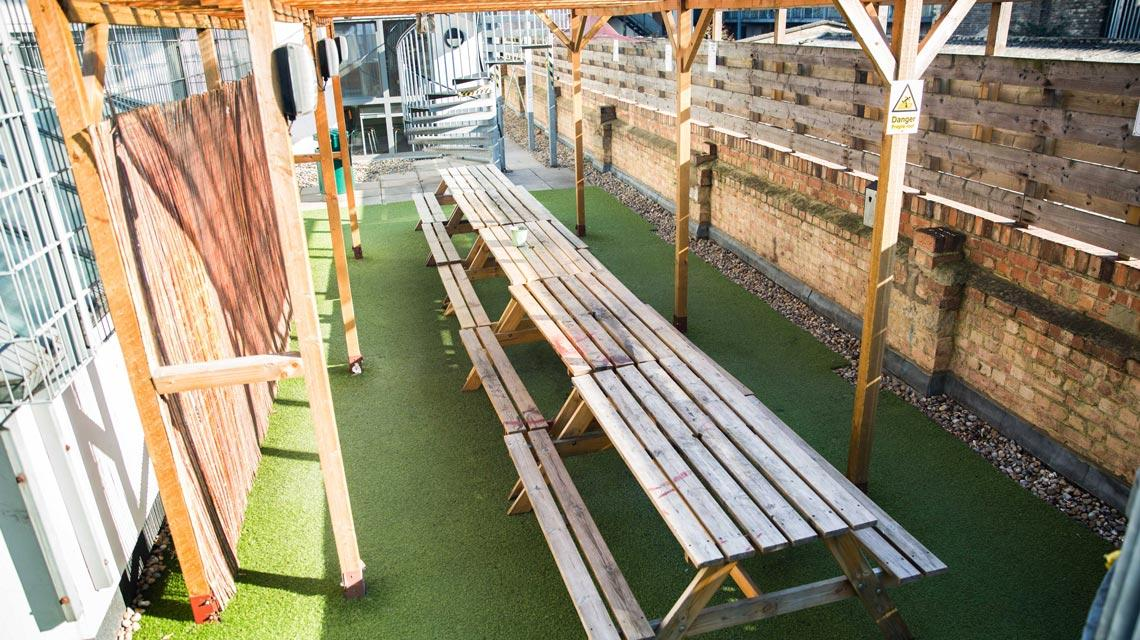 Outdoor seating area at Don Gratton House
