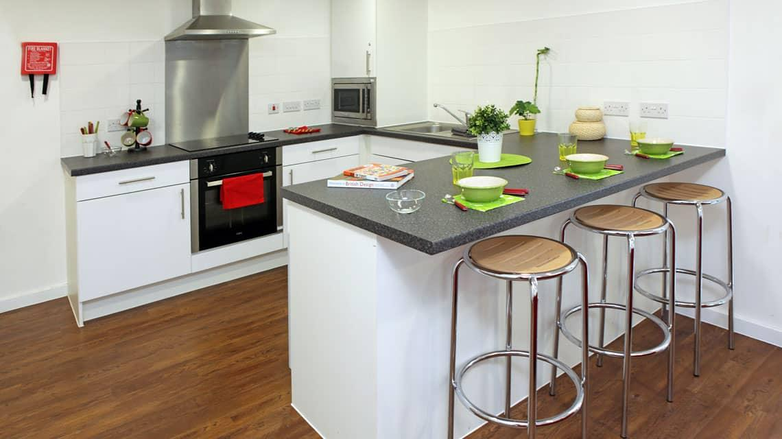 typical shared kitchen at Grenville Street