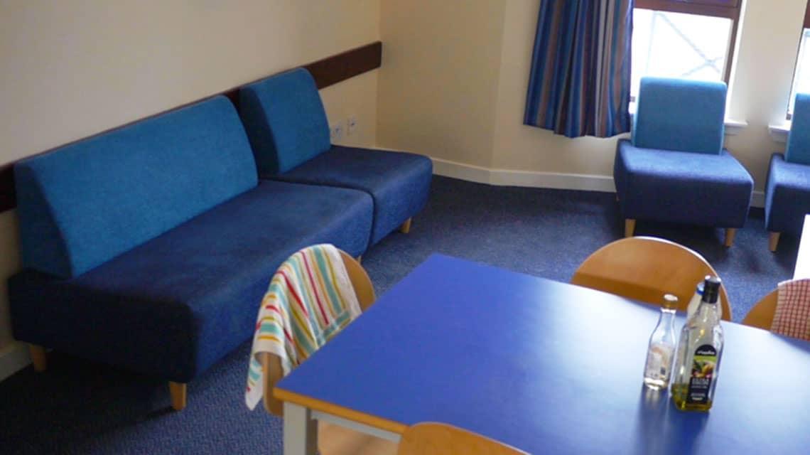 example communal kitchen and lounge at Kelvinhaugh Street