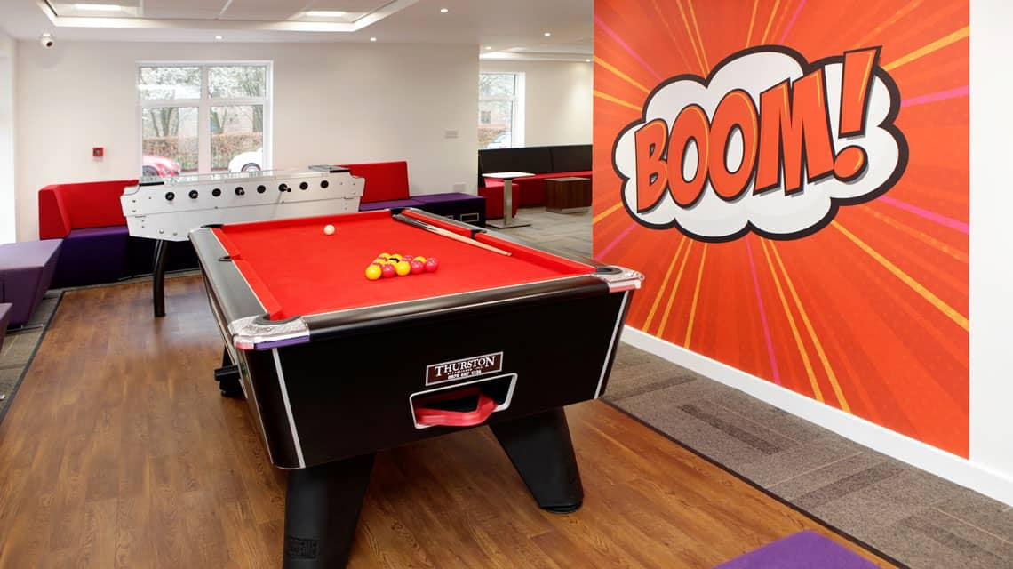 Pool table in the Moor Lane Halls common room