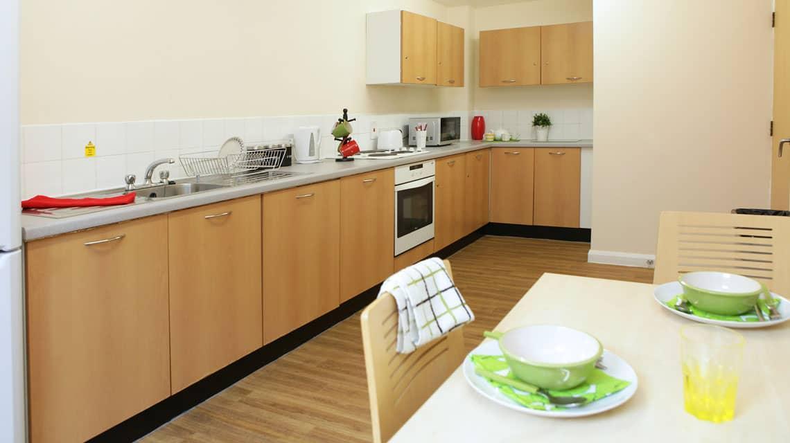 example kitchen layout at Moor Lane Halls