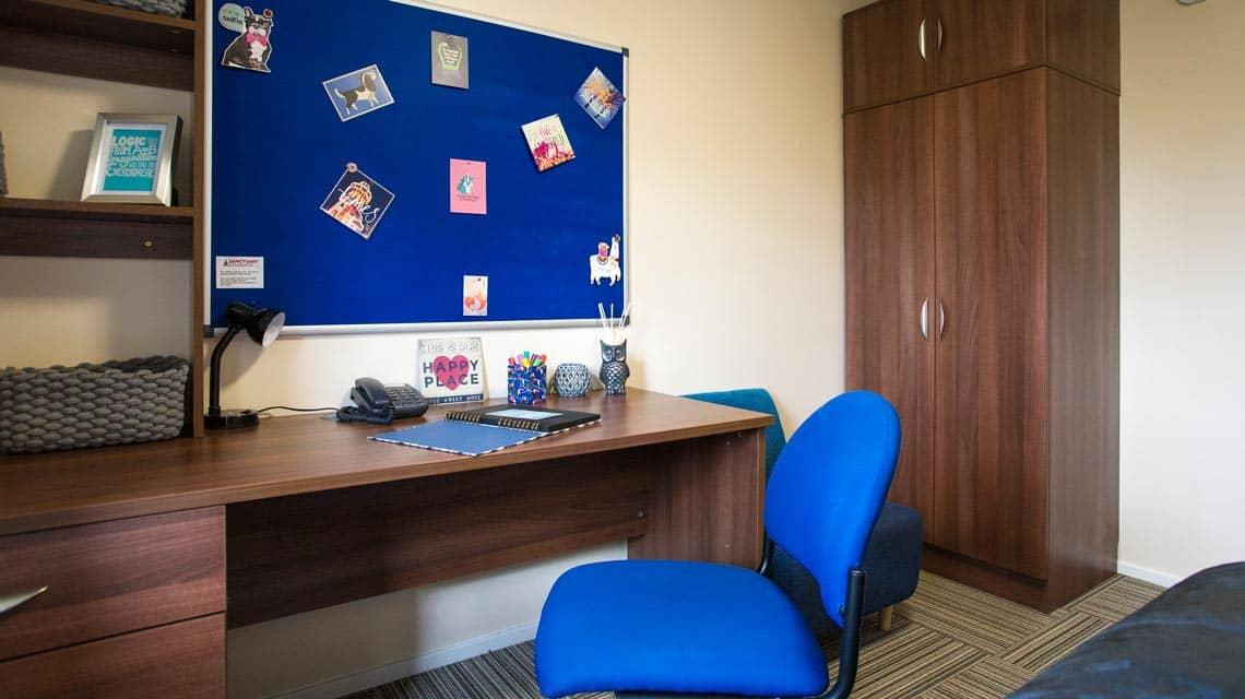 A typical Murano Street Student Village desk and wardrobe