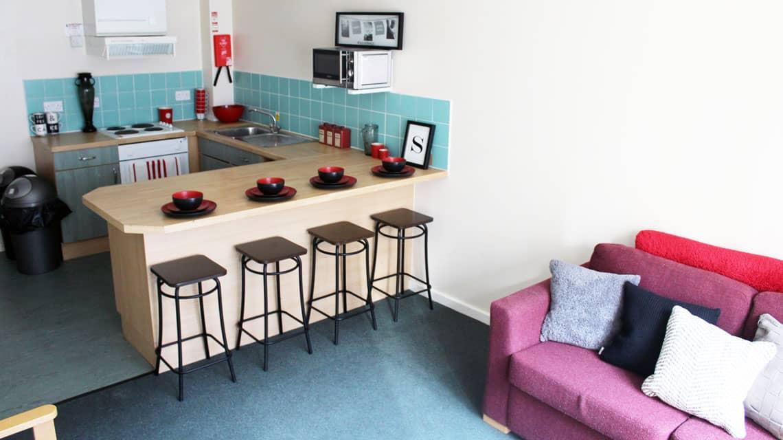 example shared kitchen and lounge at Oak and Willows House