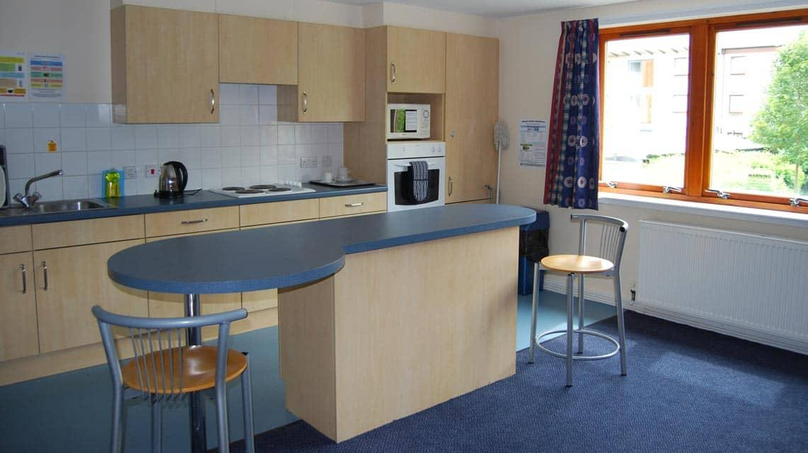 example shared kitchen and dining area at Queen Margaret Residences