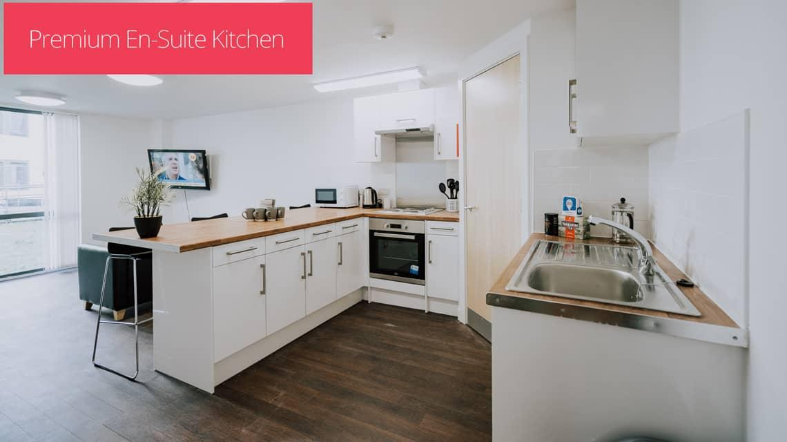 The shared kitchen in a Premium En-suite flat.