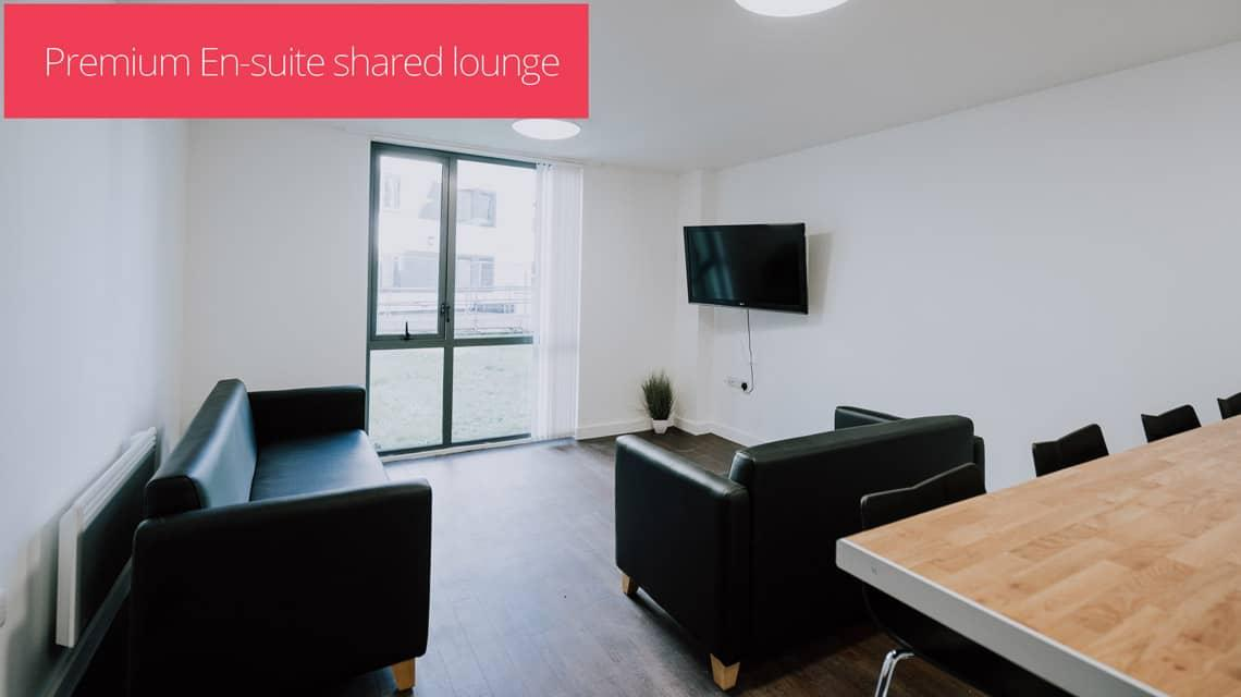 A shared lounge within a premium en-suite flat.
