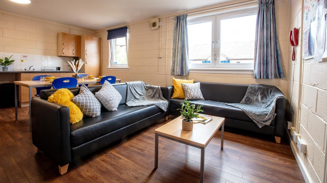 Example shared kitchen and lounge at Seabraes Flats 1 in Dundee