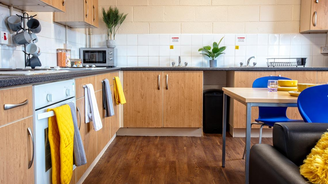 Example shared kitchen at Seabraes Flats 1 in Dundee