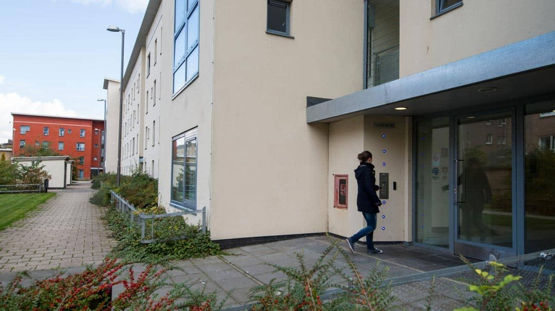 a student entering Seabraes student accommodation