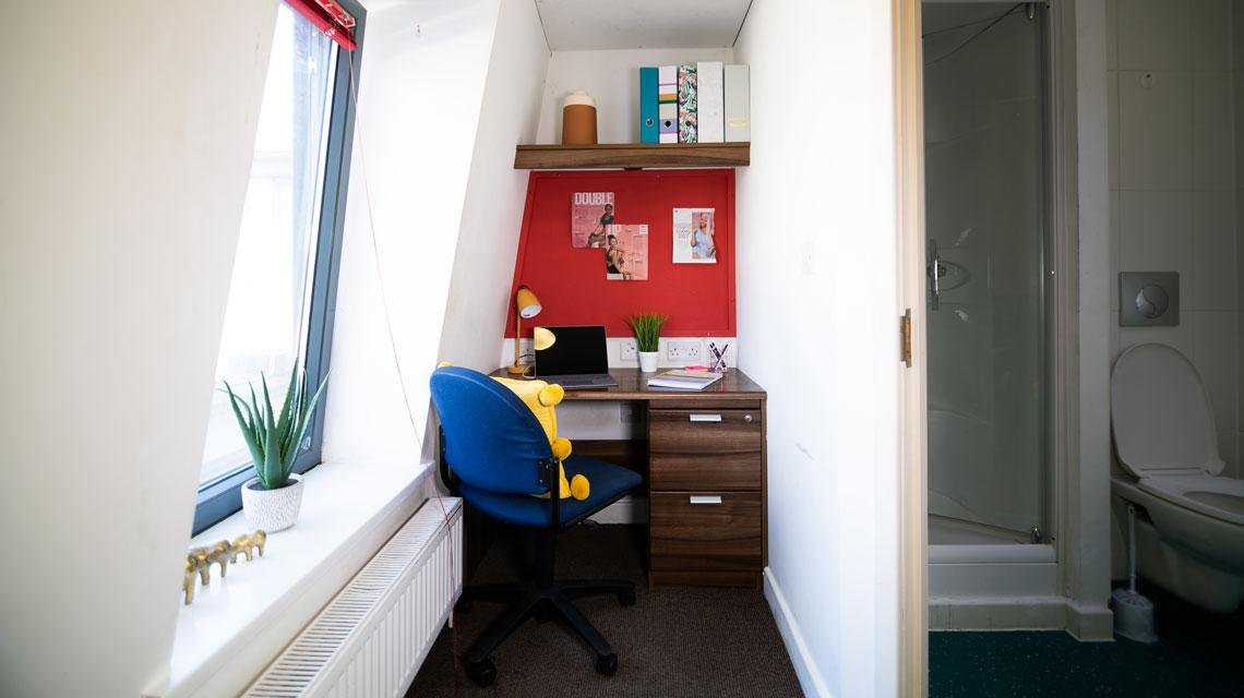 Example desk area in a bedroom at The Craft Building