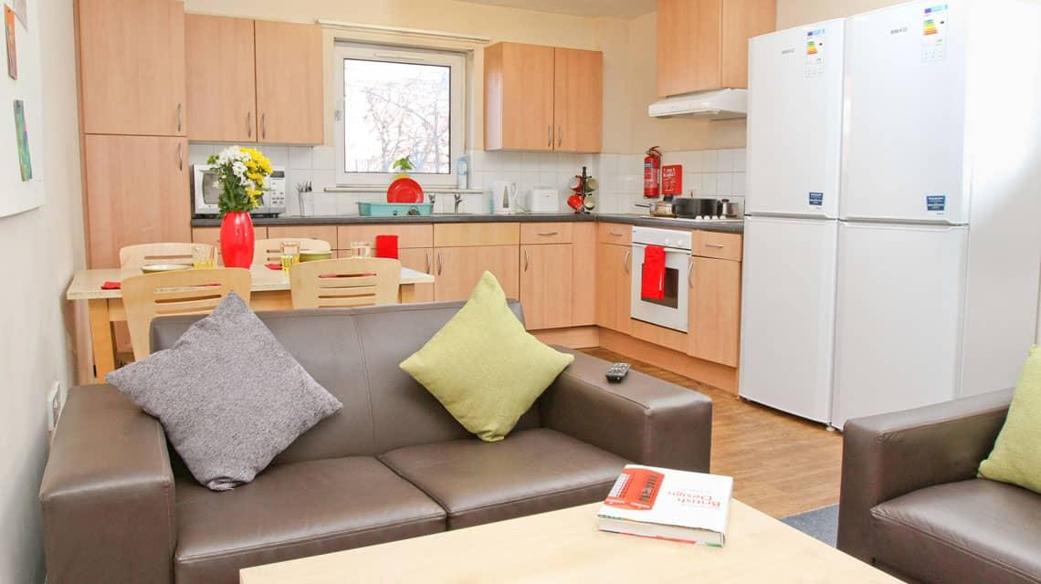 A typical shared kitchen and lounge at Tramways
