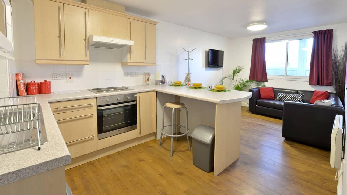 example kitchen and lounge area at Wardley House, Bradford