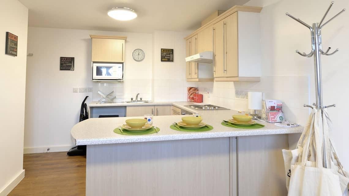 example shared kitchen area at Wardley House, Bradford