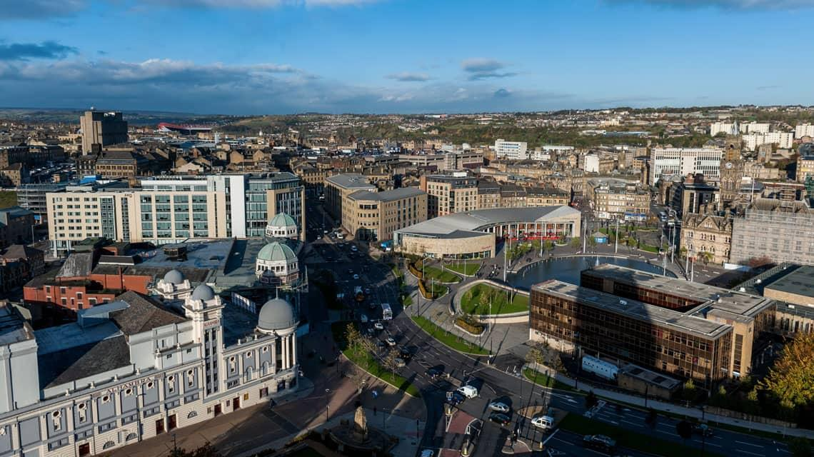 cityscape of Bradford from Wardley House