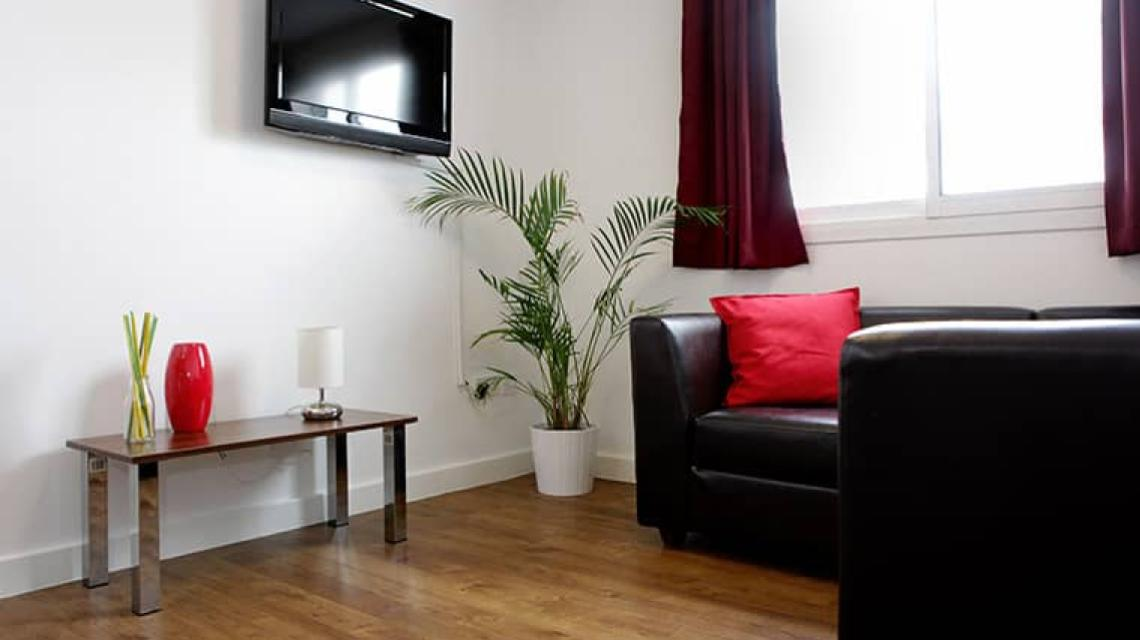 A shared lounge area in one of the student flats.
