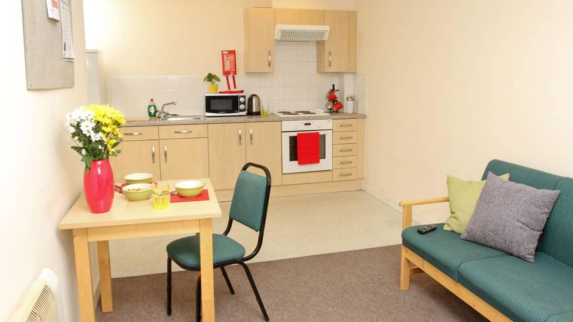 shared kitchen and lounge at Grafton Street