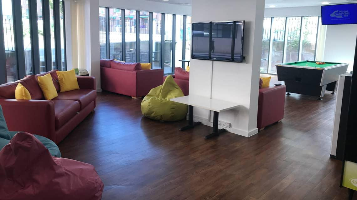 The shared common room at Grenville Street.