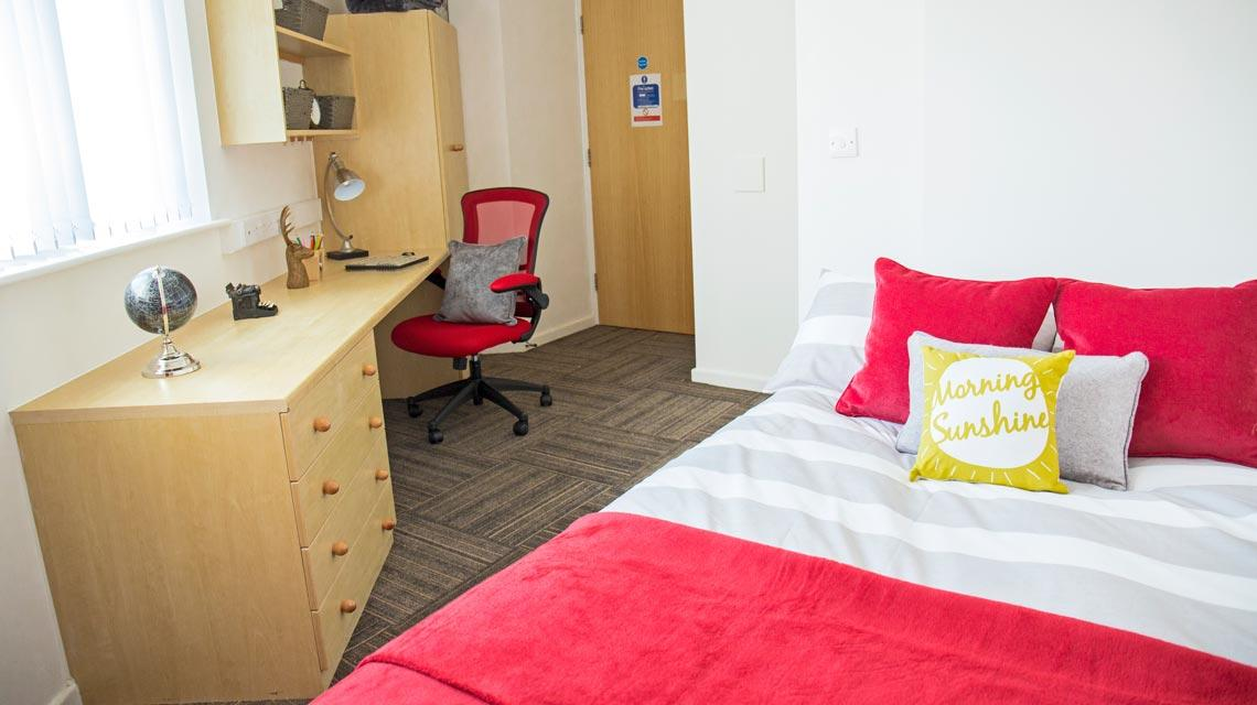 Example bedroom at Marybone Student Village