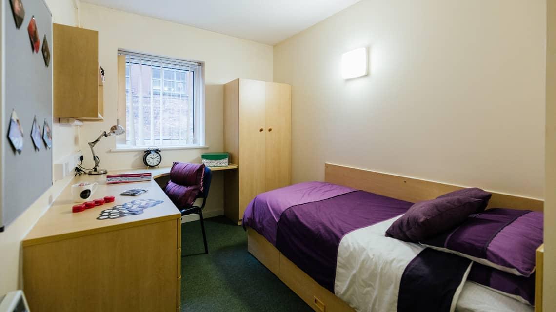 A typical standard room at Moor Lane Halls, Preston